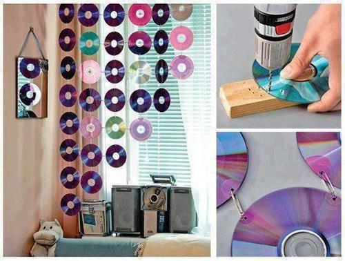 Reciclar CDs y DVD : cortina para habitación. http://www.construccion-manualidades.com/