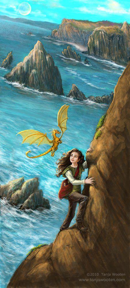 Climbing Picture  (2d, fantasy, dragon, pern, fair tale, girl, child, landscape)