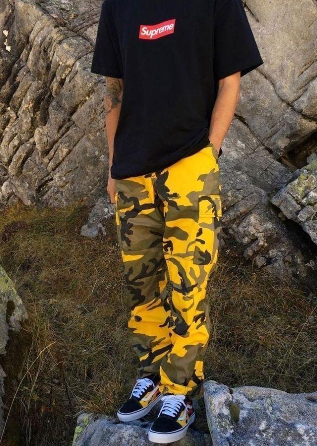 Yellow camo pants with vans #streetwear