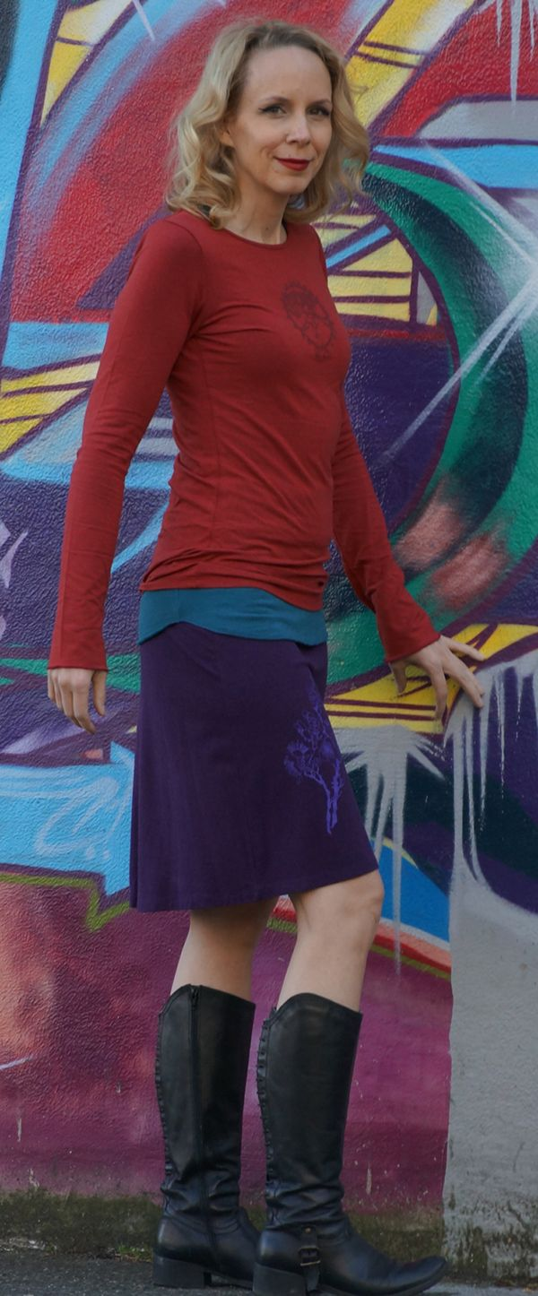 Brick Red Bamboo Long Sleeve with Shiva from Squeezed Yoga Clothing http://squeezed.ca/shop/brick-red-bamboo-long-sleeve-tee-with-shiva