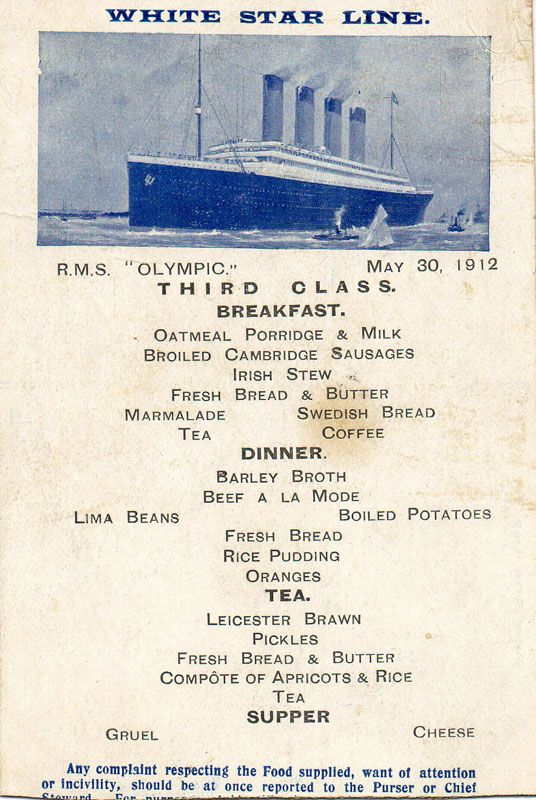 Rms Olympic Third Class Menu 1912 The Titanic Pinterest
