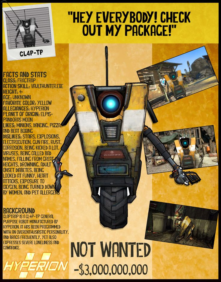 Borderlands 2 Wanted Posters - CL4P-TP (Claptrap) by NerdscapeDesigns on Etsy https://www.etsy.com/listing/277807496/borderlands-2-wanted-posters-cl4p-tp