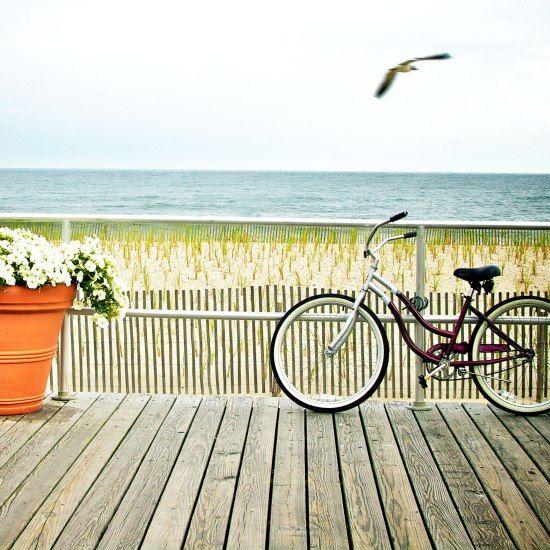 Bikes on the boardwalk in Ocean City, New Jersey