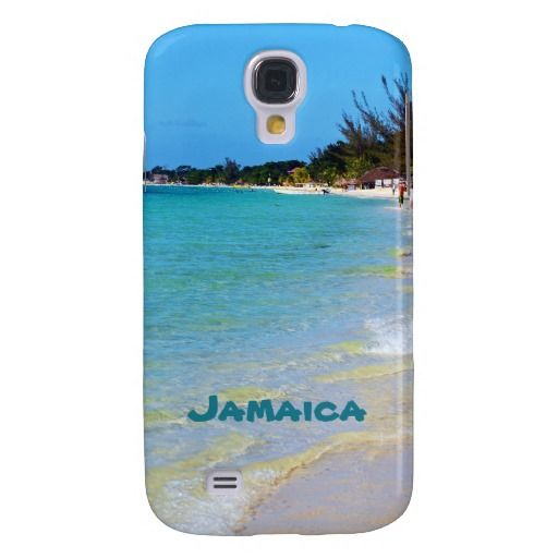 Beautiful Coastal Jamaica Beach Sand Surf Tropical Galaxy S4 Cover This beautiful souvenir Sam4 phone case features landscape nature travel photography of the famous 7 mile beach taken in tropical Negril, Jamaica with teal green blue text. Great gift for a summer loving warm weather beach lover.