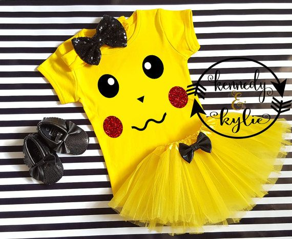 Halloween costumes for kids- baby costumes  Pikachu Tutu Outfit - Baby Girl Pikachu Pokemon Inspired Shirt Coming Home Outfit - Halloween Costum