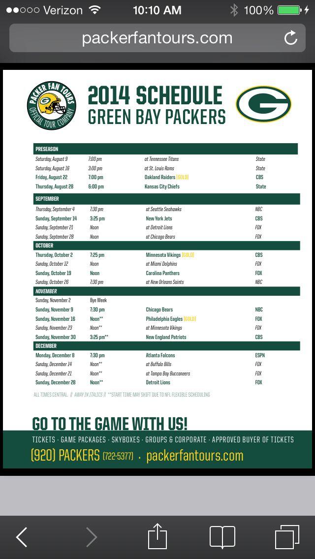 2014-2015 Green Bay Packers Schedule