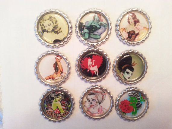 Zombie Pin Ups Zombies Zombie Pin Up Bottlecap Magnets