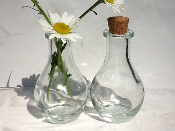 25 glass bottles 3 inches tall 2 oz bottles by for Glass bottle centerpieces