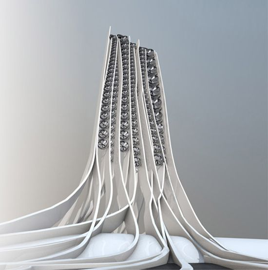 With Dozens Of Wind Turbines Integrated Into The Building And Tendrils