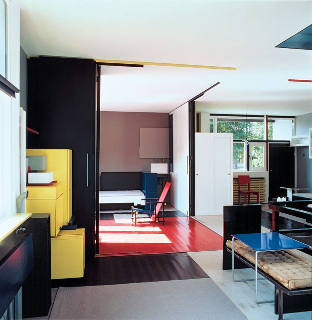 Gerrit Rietveld (1884-1964) designed the pavilion for the display of small sculptures at the Third International Sculpture Exhibition in Arnhem's Sonsbeek Park in 1955. Rietveld was a De Stijl Movement architect in the early 20th century.