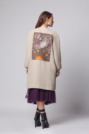 Happy Friday - Imprints of Universe long overcoat BEIGE