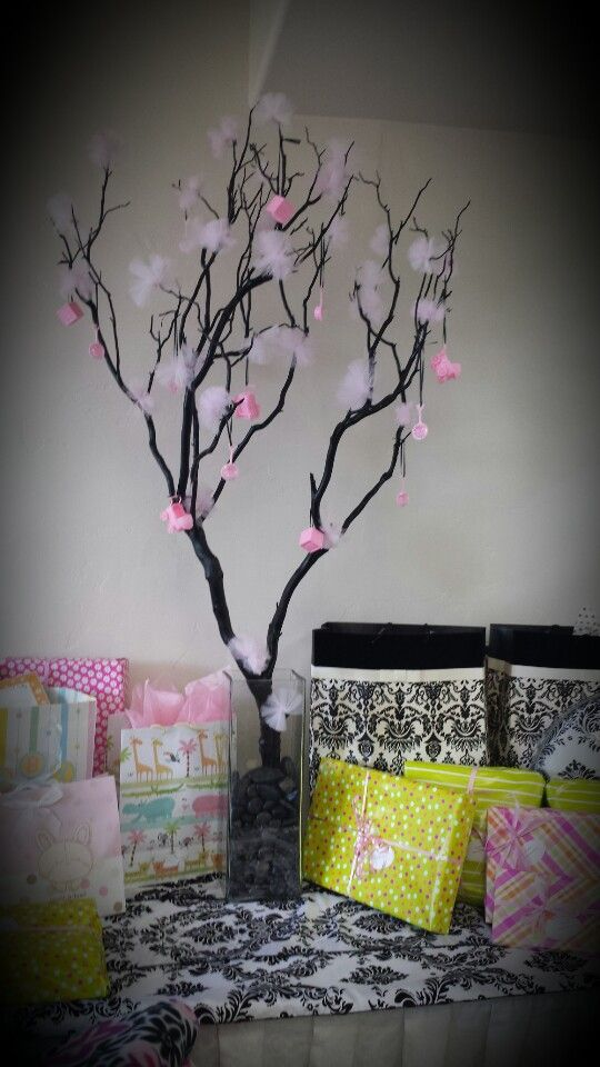 Branch tree centerpiece baby shower