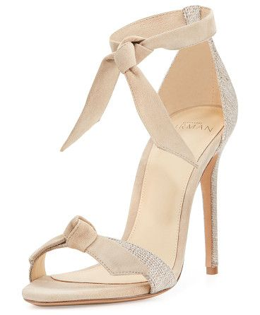"""Clarita suede & linen 60mm city sandal by Alexandre Birman. Alexandre Birman kid suede and linen city sandal. 2. 4"""" covered block heel. Knotted strap bands open toe. d'Orsay sil..."""