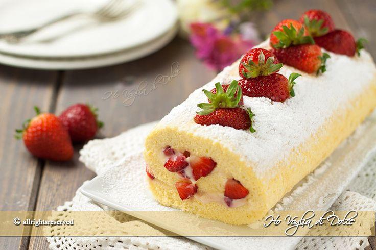 Rotolo con crema e fragole ricetta