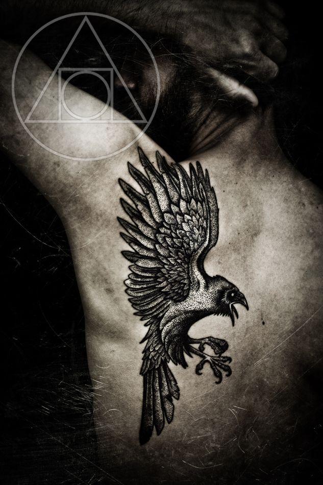 Raven tattoo on back-SICKKKKKK my name in Gaelic means raven.