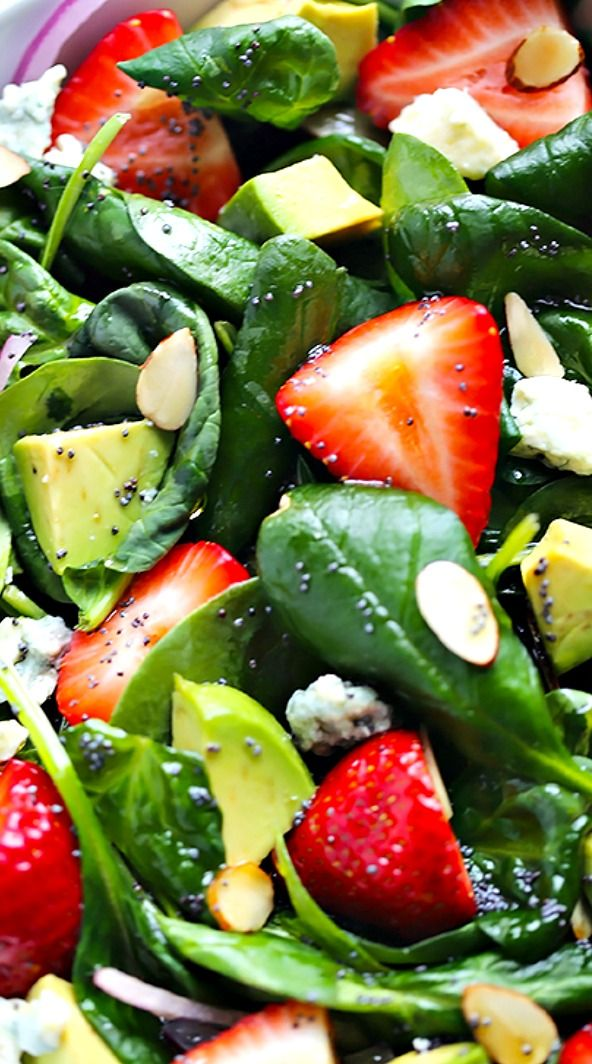 Avocado Strawberry Spinach Salad with Poppy Seed Dressing Recipe