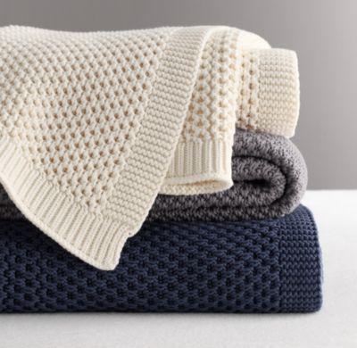 Chunky Cotton Knit Throw | Blankets | Restoration Hardware Baby & Child