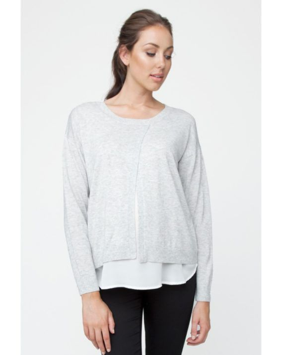Cross Front Nursing Sweater - Blossom & Glow Maternity.  The gorgeous Cross Front Nursing Sweater ticks all of your maternity boxes this season!  The layering look is right on trend, the fabric is a gorgeous soft knit, and it's super versatile!  You will love the: Relaxed fit, Discreet breastfeeding access, Layered look.