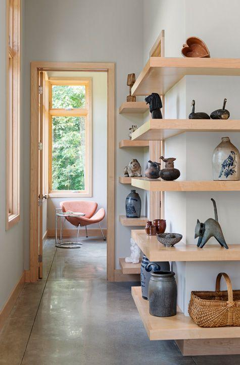 Maple Shelves in hallway. Modern simple cantilevered bookshelves. #bookshelf