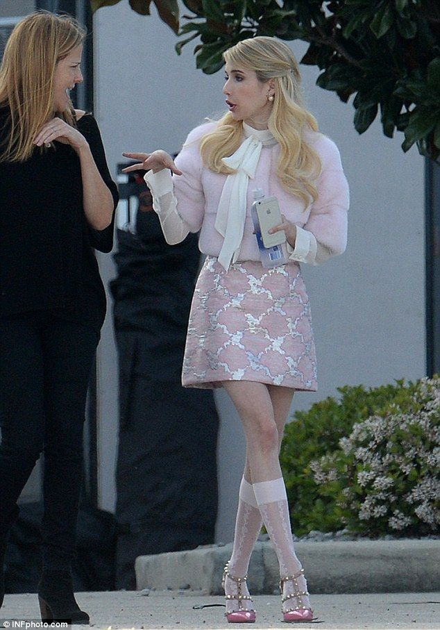 Pretty in pink: Emma glammed up on the set of Fox's Scream Queens on Sunday