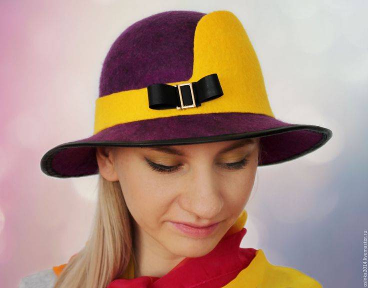 Купить Шляпка женская валяние шерсть - комбинированный, однотонный, шляпка, шляпа, купить шляпу