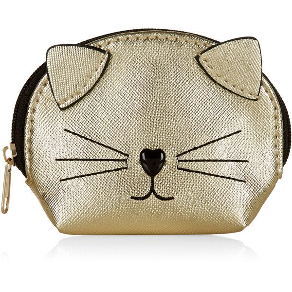 Accessorize Metallic Cat Purse found on Polyvore featuring bags, wallets, heart shaped bag, cat wallet, metallic wallet, cat bag and embroidered bags
