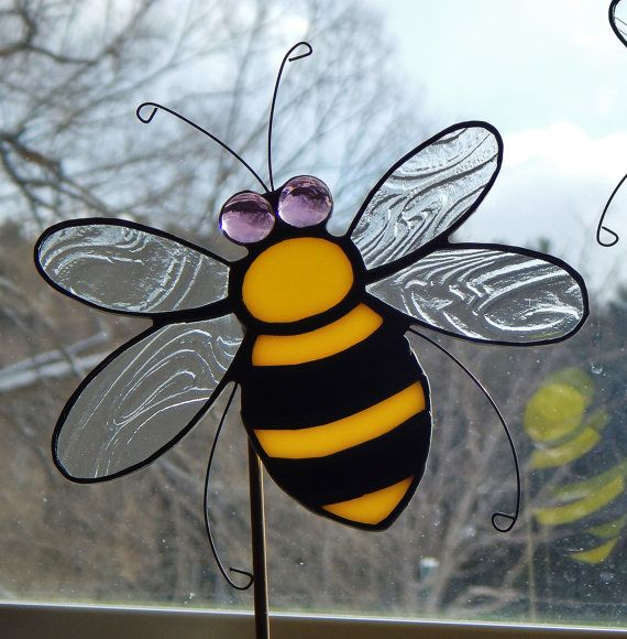 Stained Glass Bumble Bee Garden Stake / Pot by RedfordGlassStudio, $24.50