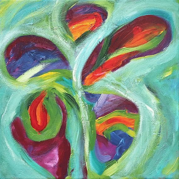 Original abstract painting butterfly painting acrylic on
