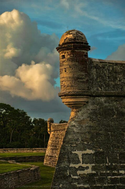 The 17th century Castillo de San Marcos is the oldest masonry fort ruin in the United States. It was built by the Spaniards starting in 1672 to protect the city of St. Augustine, Florida.