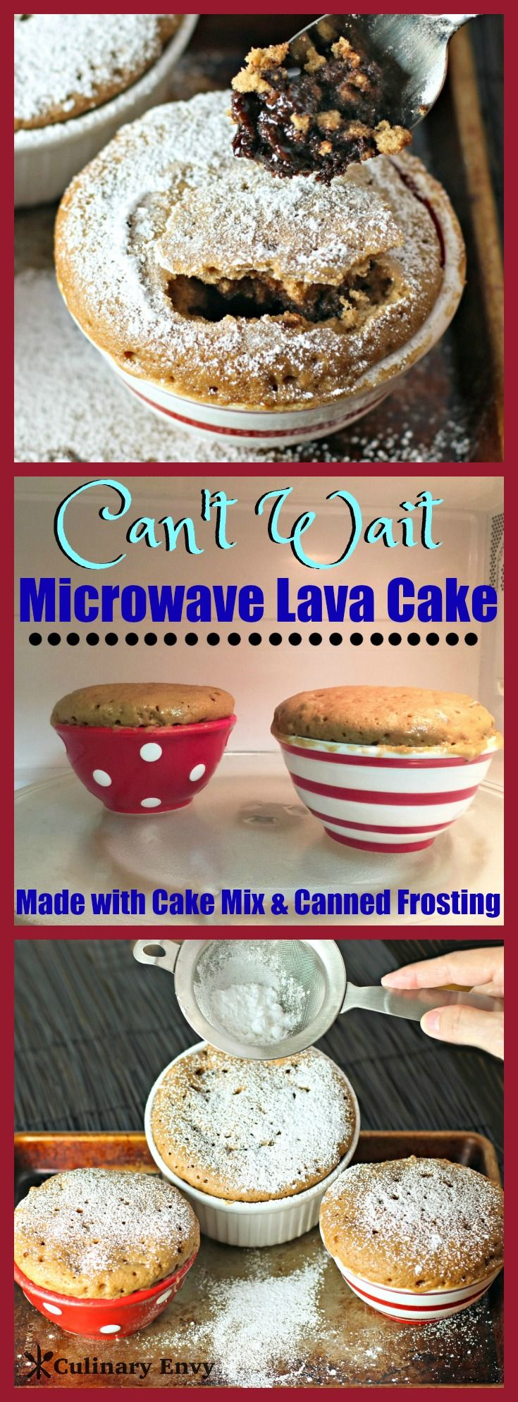 Can't Wait Microwave Lava Cake is ready in only 7 minutes and uses cake mix and prepared frosting in the can. It is the BEST microwave cake (with fudgy lava center) you'll ever try! Get ready for this quick, easy and delicious dessert to blow your mind! Click to read more.