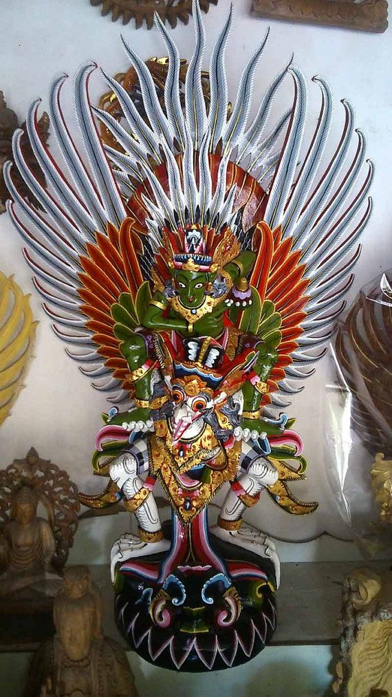 Akasiawood carving  sculpture Garuda wisnu  full by JavaCulture