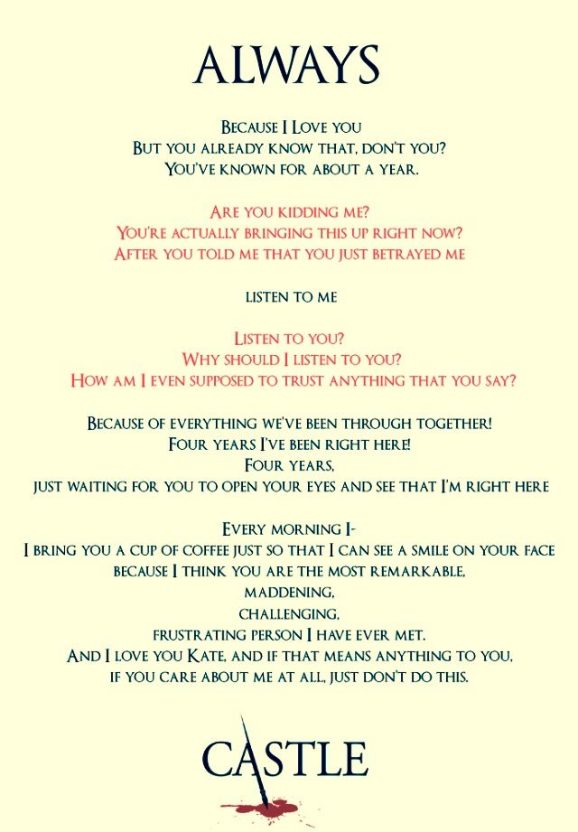it's sad that I can read this and know exactly how Stana and Nathan said their lines and still I feel like I'm watching it for the first time again.
