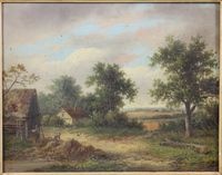 "Lot 423 W Yates, oil, 19th Century Country view with farm works and chickens before buildings, signed 11 1/"" x 14 1/2"", est  £80-120"