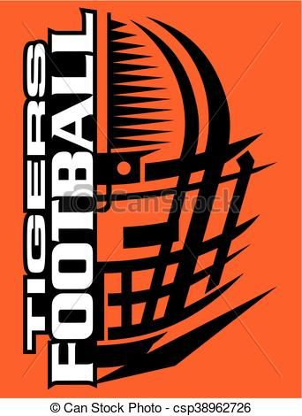 Vector - tigers football - stock illustration, royalty free illustrations, stock clip art icon, stock clipart icons, logo, line art, EPS picture, pictures, graphic, graphics, drawing, drawings, vector image, artwork, EPS vector art
