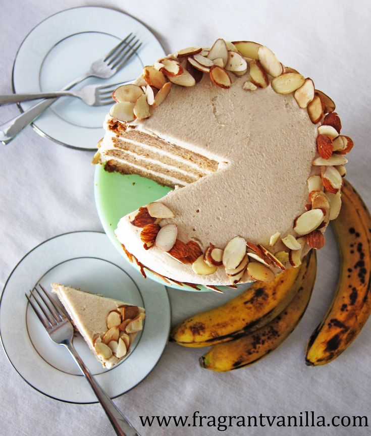 "Vegan Banana Almond Cake with ""Cream Cheese"" Frosting"