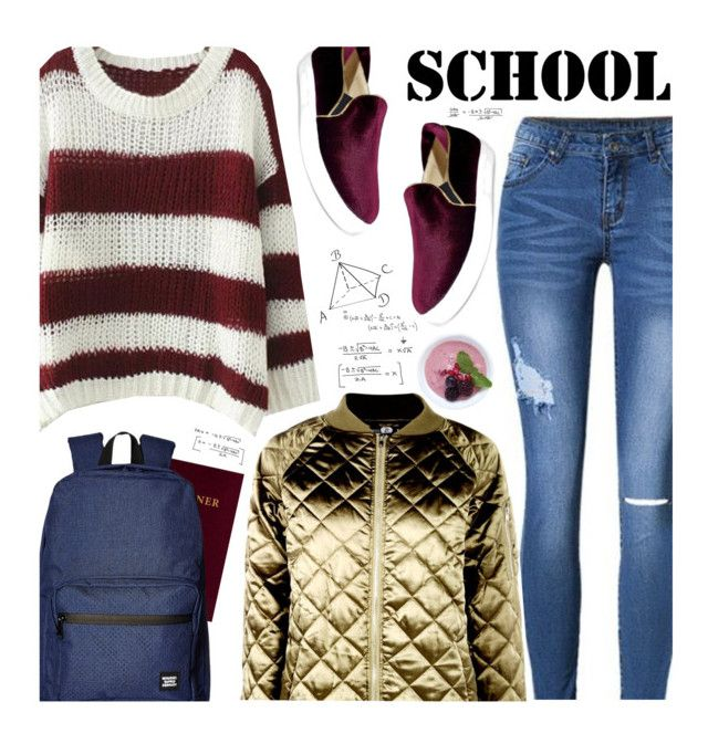 """School"" by beebeely-look ❤ liked on Polyvore featuring Herschel Supply Co., Zoku, Boohoo, BackToSchool, metallic, schoolstyle, sammydress and BoldStripes"