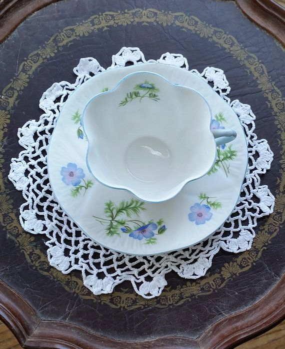 Shelley tea cup and saucer  Dainty Blue by DauphinTimeCapsule