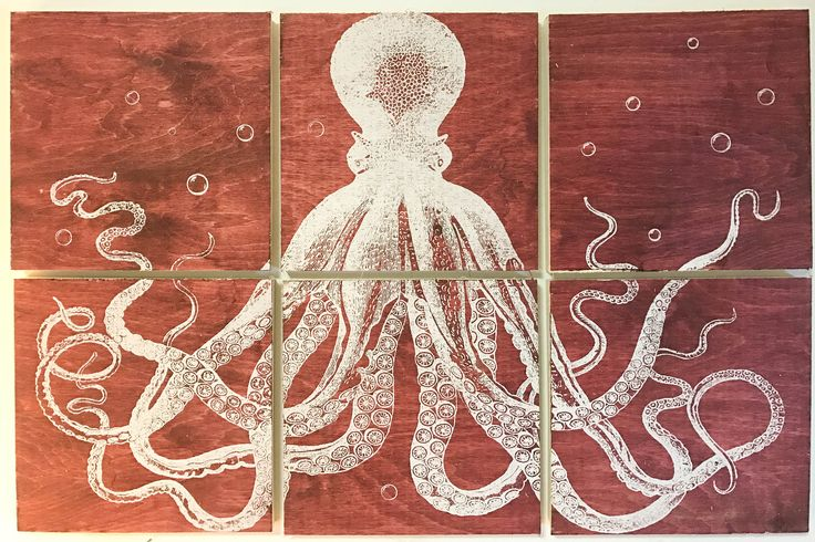 24x36 squid screen printed with red stain by CreationsSauvages on Etsy