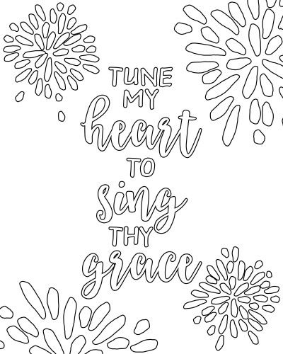 come thou fount tune my heart to sing thy grace free printable adult coloring - Coloring The Pictures