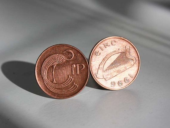 Irish Penny Cuff Links  Genuine Irish Pennies pre-Euro