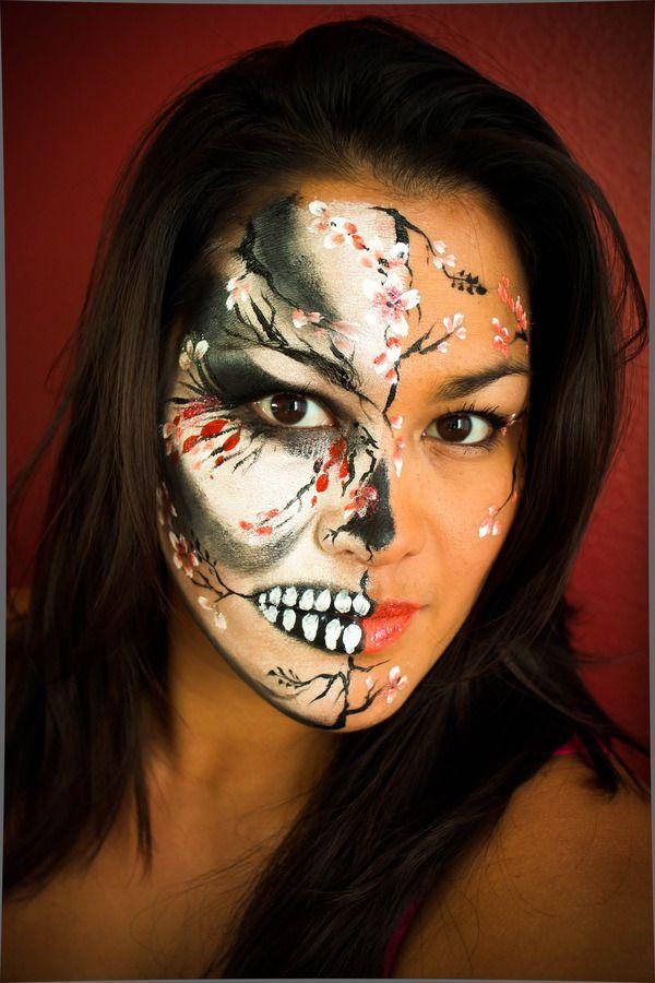 cherry blossom skull face paint - Skull Face Painting Ideas For Halloween