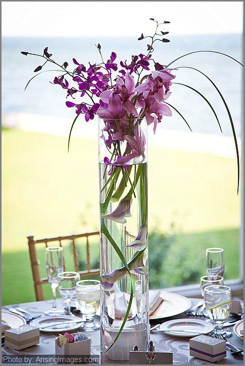 Purple orchid and calla lily centerpiece