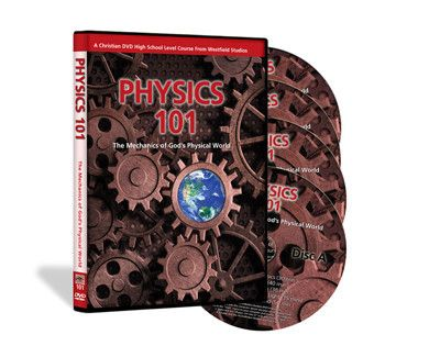 """Free shipping until August 31st! Just enter code: """"augfs"""" at checkout! Thank you for all your enthusiasm for our new film! Explore the world of physics and learn about the amazing mechanics behind God's physcal world. This 20 segment DVD course has over 11 hours examining the inner workings of the world around us. Included on Disc D is a printable Guidebook with quizzes covering the material presented in each segment and a one year high school course booklet."""