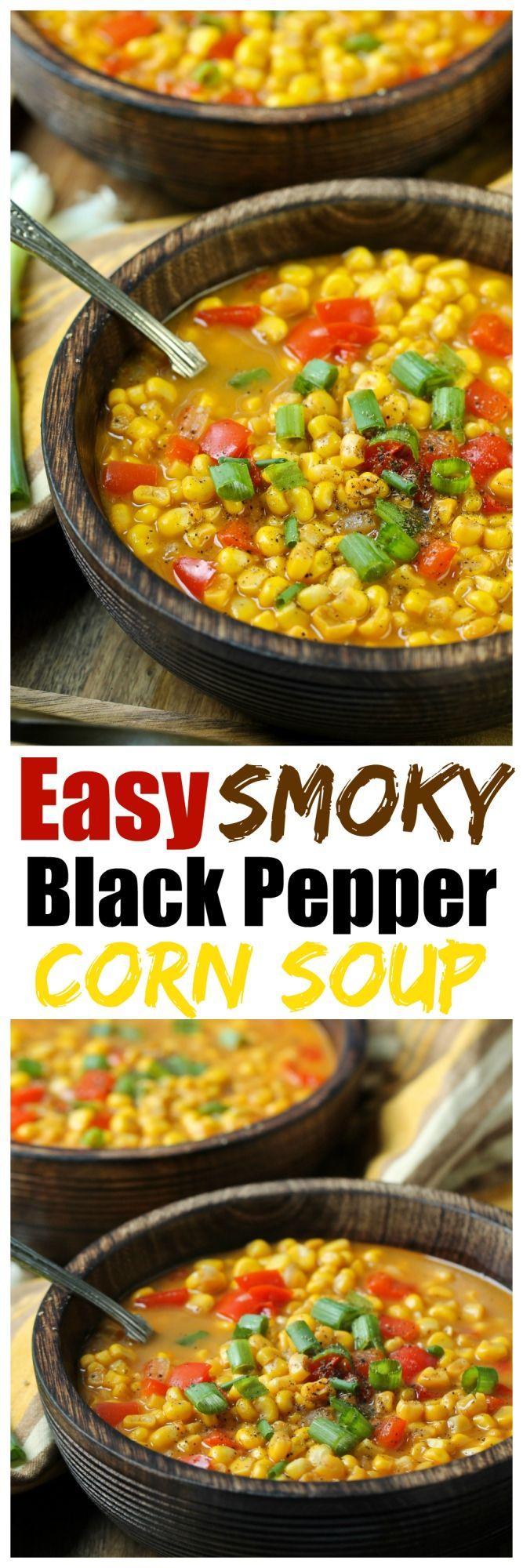 An incredibly easy and quick Black Pepper Corn Soup is full of sweet corn, sweet onion and red bell peppers and comes together in about 40 minutes. A vegan corn soup that has a touch of creamy from coconut milk and the perfect amount of spice from a good dose black pepper and chili powder.