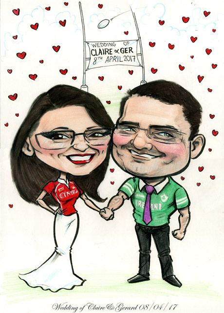 Wedding Caricature Signing Board: Wales Meets Ireland!  A fun rugby-themed wedding caricature for this recently married couple! ... Caricature of newly married couple in Wales and Ireland rugby t-shirts with goalposts in background  #AllanCavanagh #caricatures #caricaturesireland #guestbooks #weddingfavours #weddingguestbooks #weddings