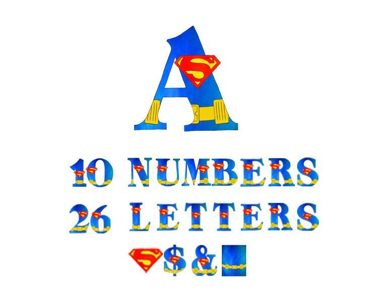 Superman Alphabet - Alphabet Clip Art - Superhero Alphabet- Superman Clip art - Scrapbooking  - PNG - Limited Commercial - Instant Download by 641Digital on Etsy