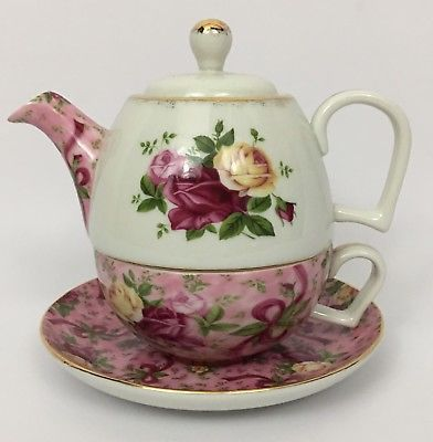 Royal Albert Old Country Roses Chintz Tea For One Individual Teapot Cup Combo