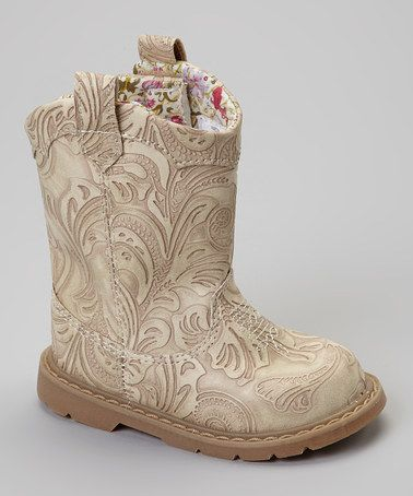 Take a look at this Tan Embossed Paisley Stampede Cowboy Boot by Natural Steps on #zulily today!