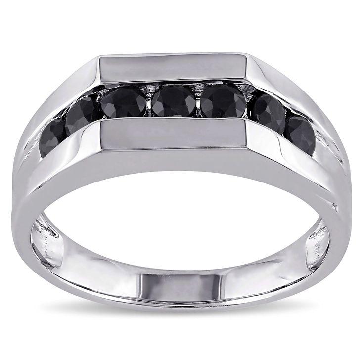 Miadora Sterling Silver Black Sapphire Men's Eternity Ring (Size 13), White