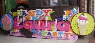 candy party letrero en icopor - piñatas en villavicencio